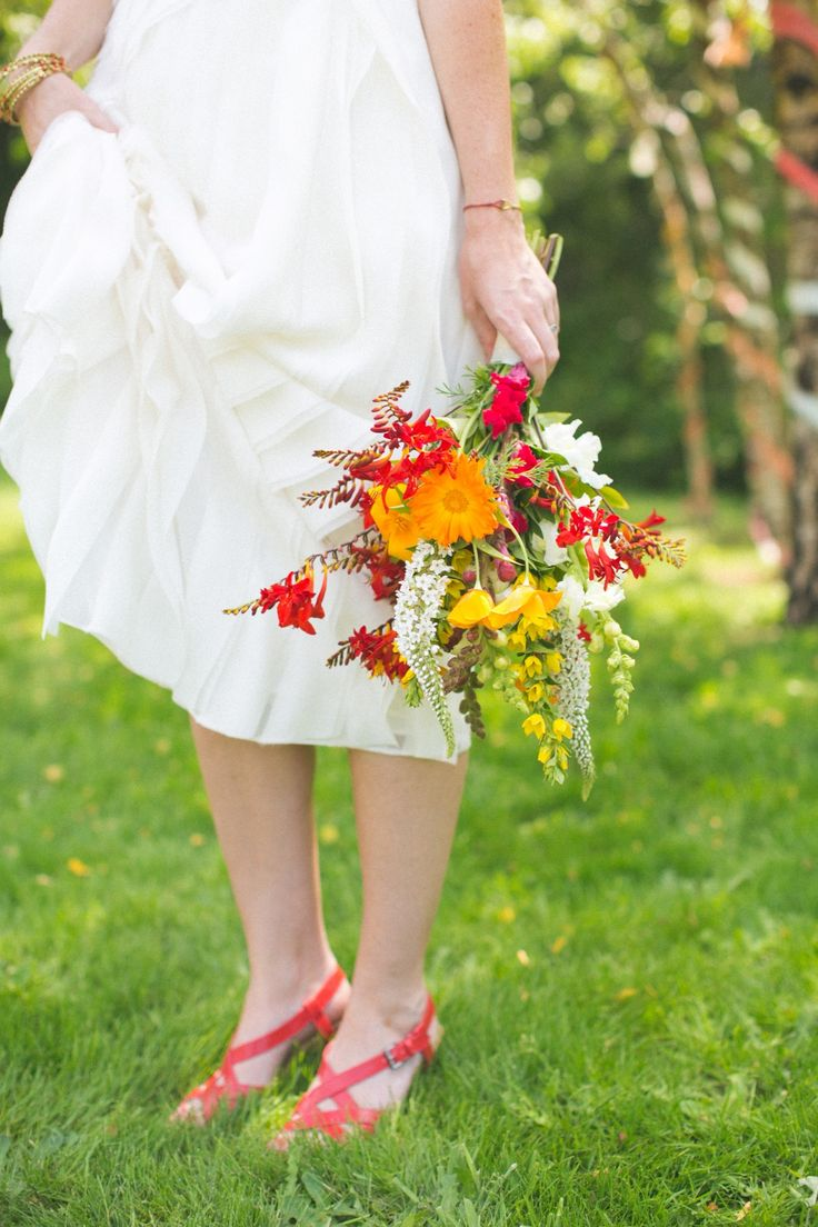 #bouquet of fresh farmer's market flowers  Photography: Matthew Land Studios - www.matthewland.com  Read More: http://www.stylemepretty.com/2014/05/22/diy-backyard-wedding-seattle/