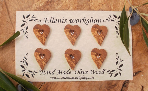 Hand made Greek olive wood heart shaped buttons by ellenisworkshop, $33.00
