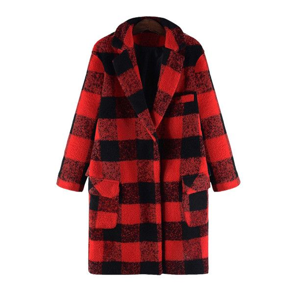 Checked Turn-Down Collar Woolen Coat (£38) ❤ liked on Polyvore featuring outerwear, coats, red coat, red wool coat, wool coat, woolen coat and checked coat