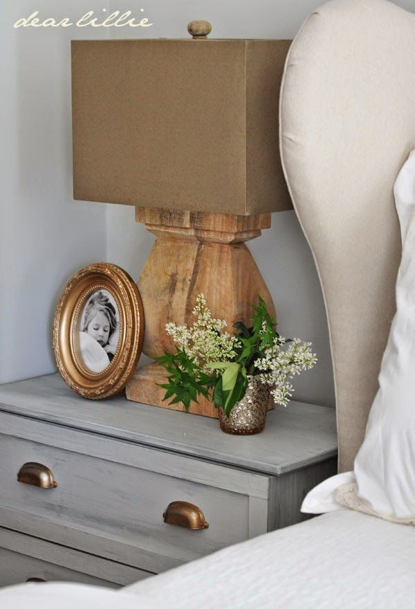 Master Bedroom Night Stand Tutorial (IKEA Tarva Hack) by Dear Lillie - Including tutorial for switching out the base/feet hardware.