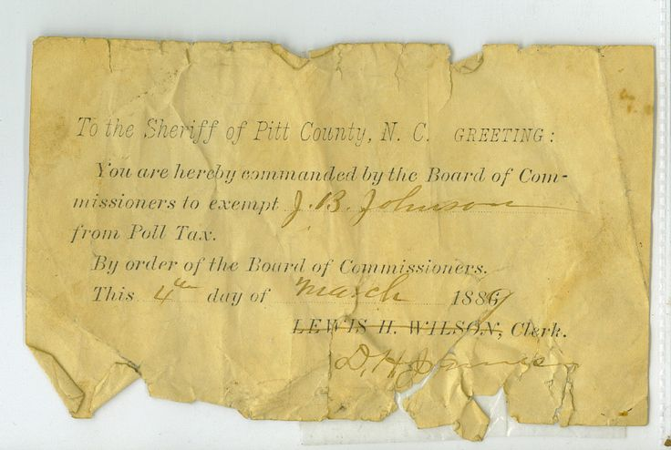 """historicallyblack: """"Poll tax exemption, 1898. Photo courtesy of Johnson family. """"In 1889, the North Carolina legislature passed voter destruction laws requiring African Americans to take literacy tests and pay poll taxes. Unlike a lot of others, my..."""