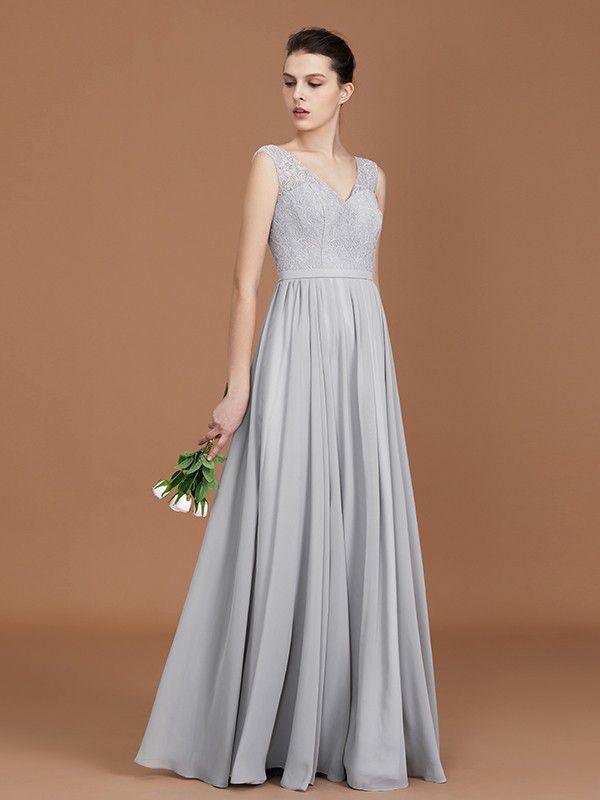 ffb607ebcfd3 A-Line/Princess V-neck Sleeveless Floor-Length Chiffon Lace Bridesmaid Dress  - Bridesmaid Dresses - Hebeos Online, Spring, Summer, Fall, Winter, Chiffon,  ...