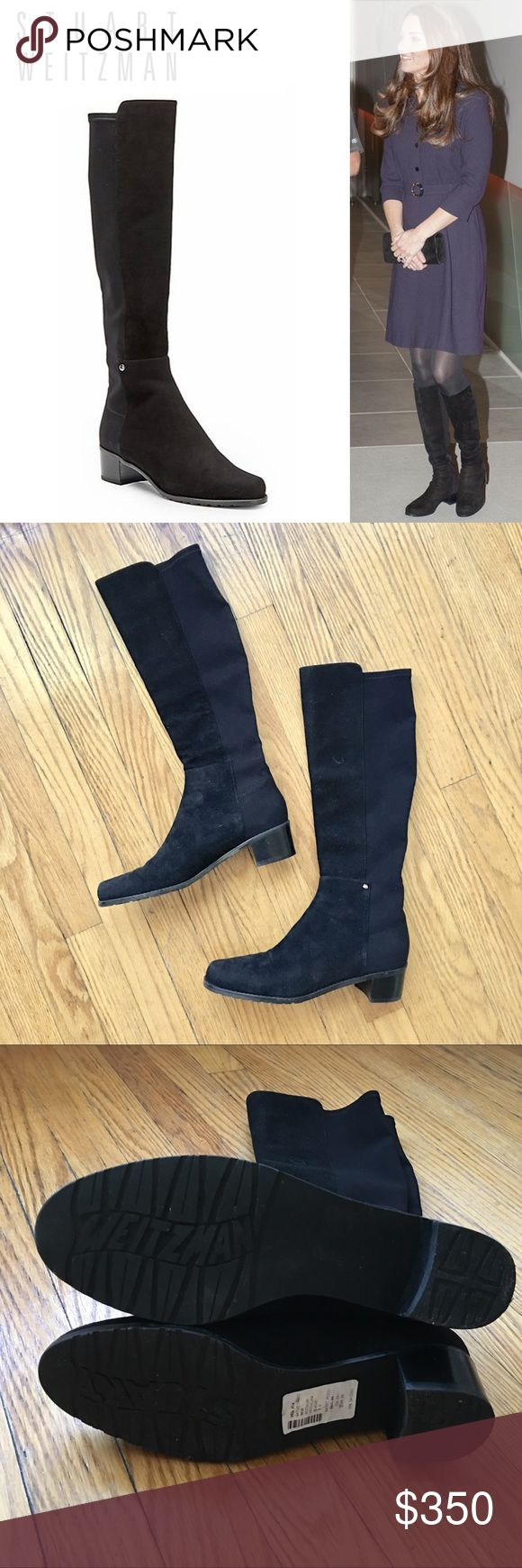 LIKE NEW Stuart Weizmann Mezzaluna Boots Worn once boots. A style loved by Kate Middleton and myself. Similar design to 5050 but under the knee. Have to give up because it's too large for me. Retail 600+ and I got it for $400. From smoke free pet free home. ✨No low ball offers 🚫No trade🚫 Stuart Weitzman Shoes Heeled Boots