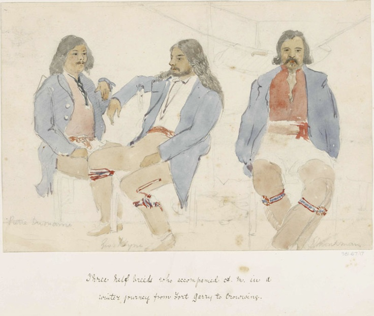 Three Metis Guides, 1857 - 1858, watercolour over graphite on buff wove paper, Alexander Moncrieff  Moncrieff, Alexander  watercolour over graphite on buff wove paper  Centimetres: 17.4 (height), 25.7 (width)  1857 - 1858  Purchased with the assistance of a Repatriation Grant under the Canadian Cultural Property Export and Import Act.  Royal Ontario Museum