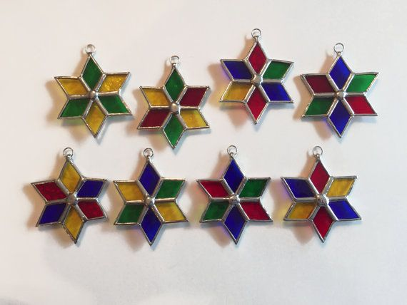 Handmade Stained Glass Multi-Color Six-Point Star by QTSG on Etsy