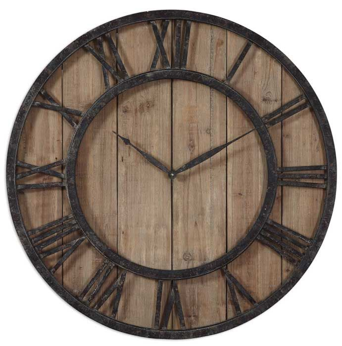 Uttermost powell wooden wall clock in the modern rustic appeal of the uttermost powell wooden wall clock is hard to find the aged bronze roman numeral