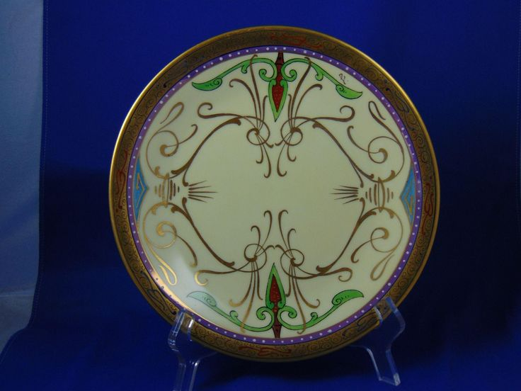 "Charles Martin Limoges Julius H. Brauer Studios Arts & Crafts Arabian/Persian Design Plate (Signed ""B."" for Max L. Bachman/c.1910-1916)"