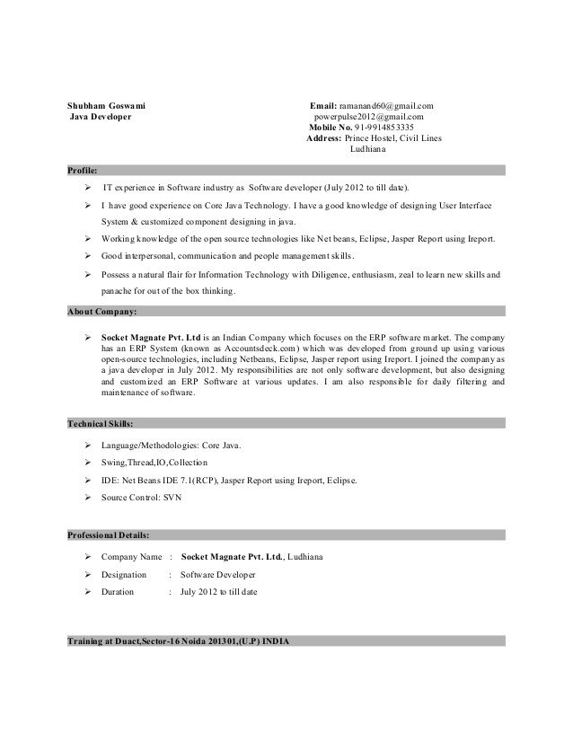 Resume Format For 5 Years Experience In Java Resume Format