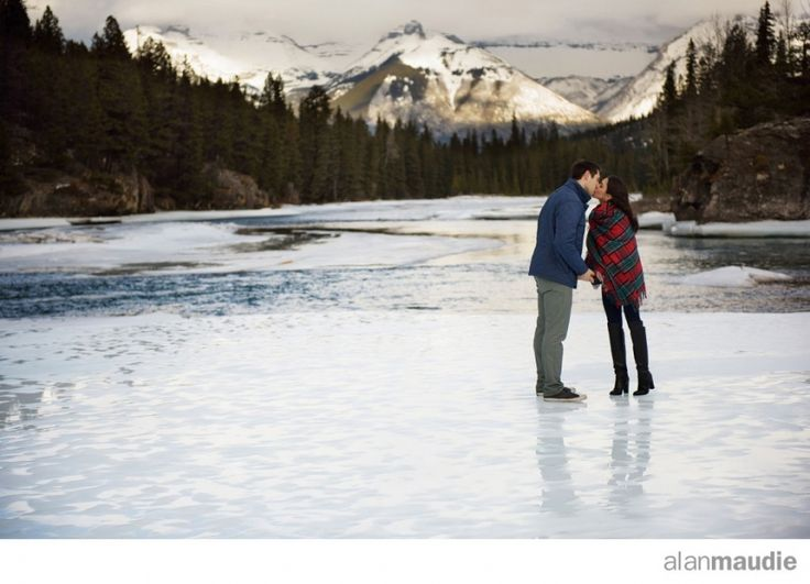 Banff Springs Hotel Wedding, Engagement Session, Banff Engagement Photography, ice, frozen, romantic, red, tartan, outdoors