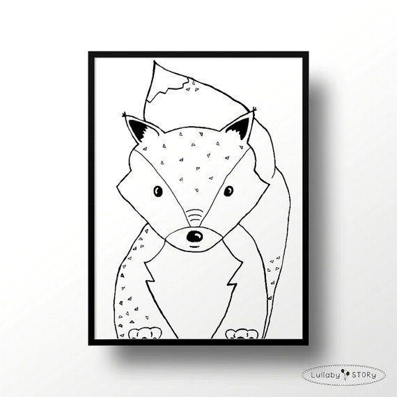 Kids poster with fox-Scandi poster-Scandinavian by LullabySTORY