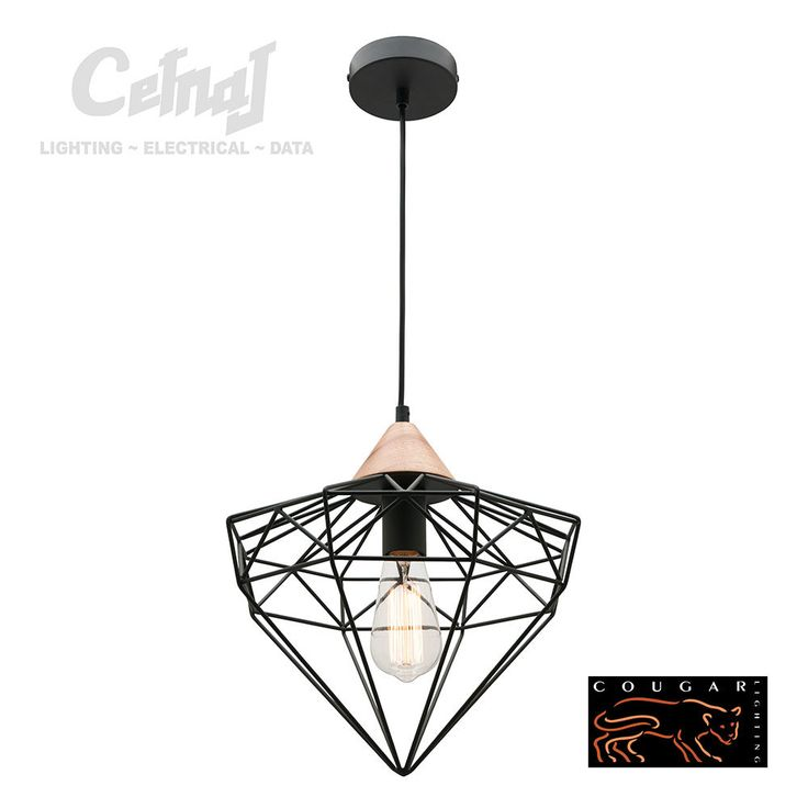 Cougar lighting glint pendant the glint 1 light pendant by cougar lighting features a black finished steel wire framed cage with timber detailing