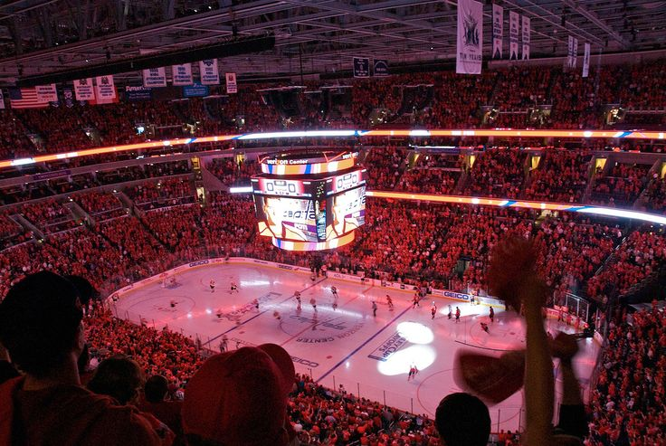 Inside Verizon Center in Washington, DC from Section 420 before the start of game one of the NHL Eastern Conference quarterfinal playoff series between the Washington Capitals and Philadelphia Flyers.