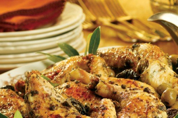 This was the first main-course dish to be offered at The Silver Palate shop, and the distinctive colors and flavors of the prunes, olives, and capers have kept it a favorite for years. It's good hot or at room temperature. When prepared with small drumsticks and wings, it makes a delicious appetizer.         The overnight marination is essential to the moistness of the finished product: The chicken keeps and even improves over several days of refrigeration; it travels well and makes…