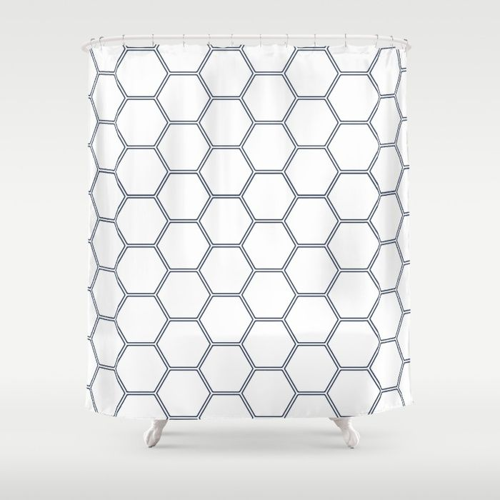 Honeycomb Navy 278 Shower Curtain By Natural Collective Co