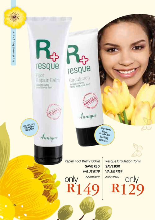 Annique's Resque Range.  A medicinal range containing Rooibos Extract.  A MUST-HAVE for every home. Annique Health & Beauty November 2017 Beaute.