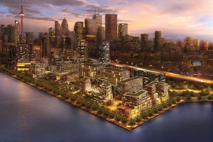 Artists conceptualization of Bayside on Queens Quay East with a view of Toronto's downtown core.