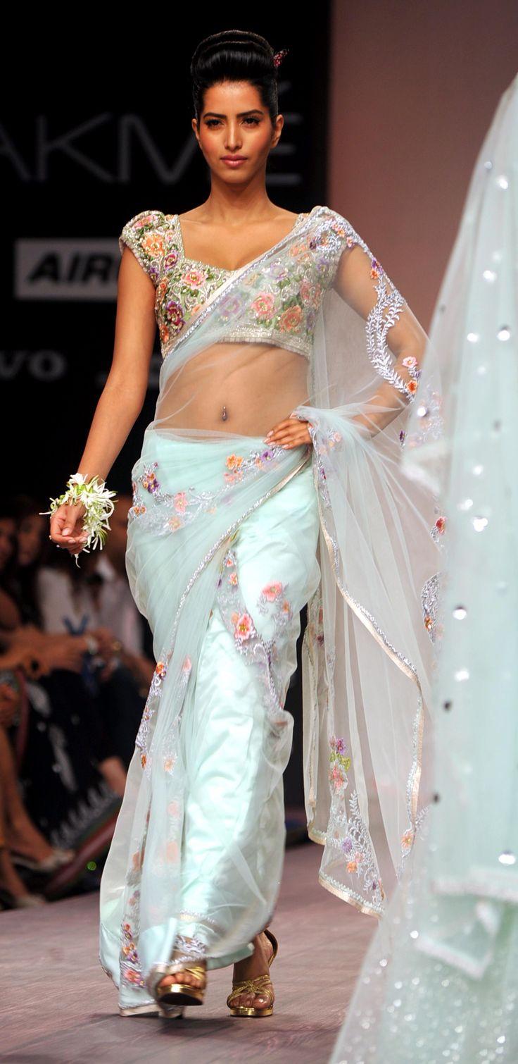 Bhairavi Jaikishans Vintage Flower Collection {Lakme Fashion Week 2013} pale blue floral saree