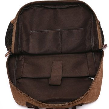 14inch Laptop Men Canvas Backpack Travel Hiking Large Capacity Student Backpack - US$44.86
