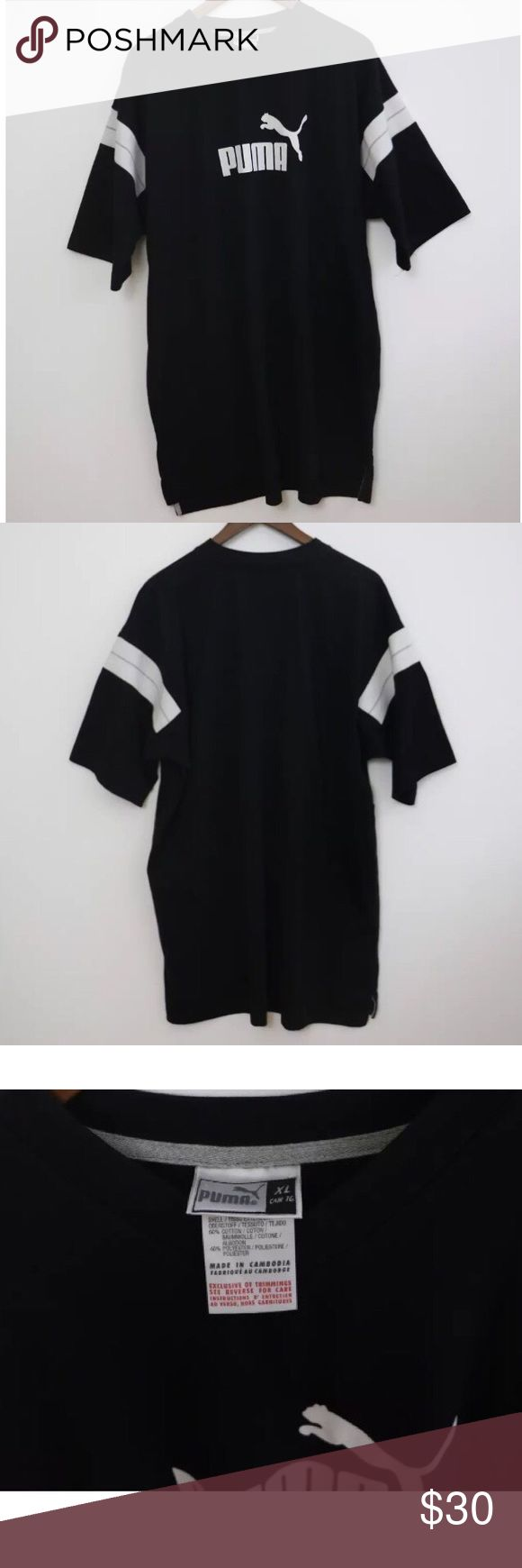 """XL Men's Puma Long Shirt Men's long style Puma black shirt in good condition with a small pen mark on the letter """"P"""". Puma Shirts Tees - Short Sleeve"""