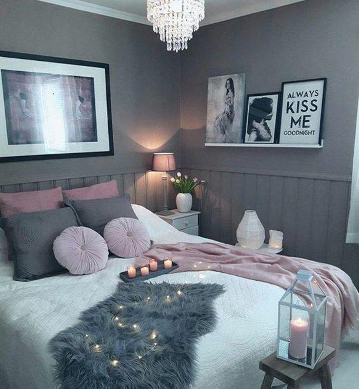 peinture mur grise parure de lit en rose