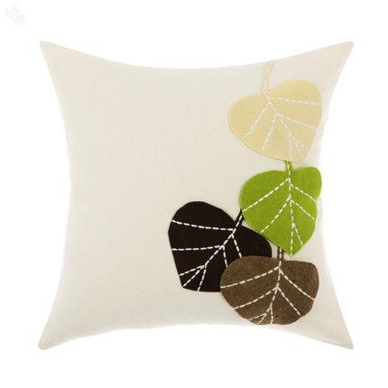 Felt Applique Broad Leaf Patterned Cushion Cover 40 x 40 cm