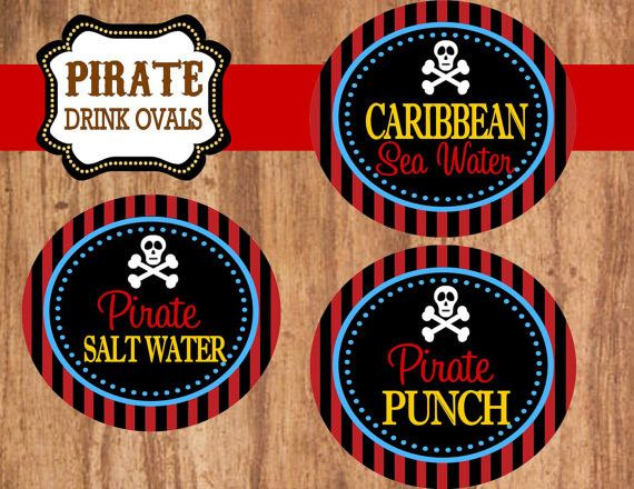PIRATE Birthday Party - Pirate DRINK BURSTS - Boys Birthday Party - Pirate Ship - Pirate Centerpieces - Pirate Decorations - INSTANT DOWNLOAD