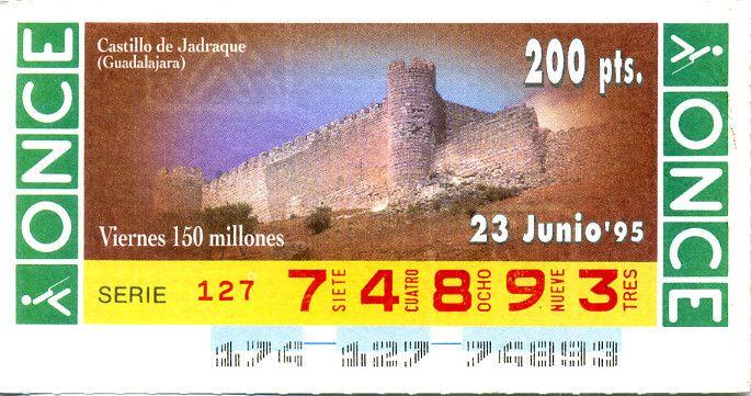 Billete de lotería: V. Castillo de Jadraque (ONCE, España) (1995 - 06 Cupones Diarios Junio) Col:ONCE-SP-95-06-23
