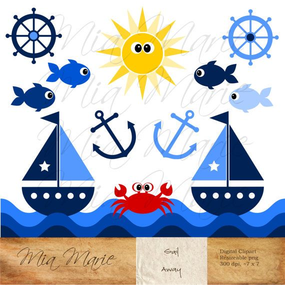 INSTANT DOWNLOAD Digital Clip Art Sailboat Clipart by MyMiaMarie