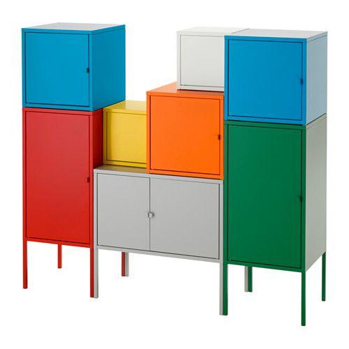 LIXHULT Storage combination, white/green/blue/yellow, red/orange/grey 130x117 cm white/green/blue/yellow/red/orange/grey