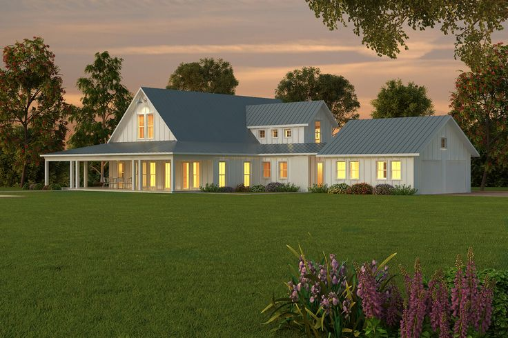 attractive one level farmhouse plans #8: Country Style House Plan - 4 Beds 3.5 Baths 3194 Sq/Ft Plan #430-135  Exterior - Front Elevation - Houseplans.com | House plans | Pinterest |  Country style ...