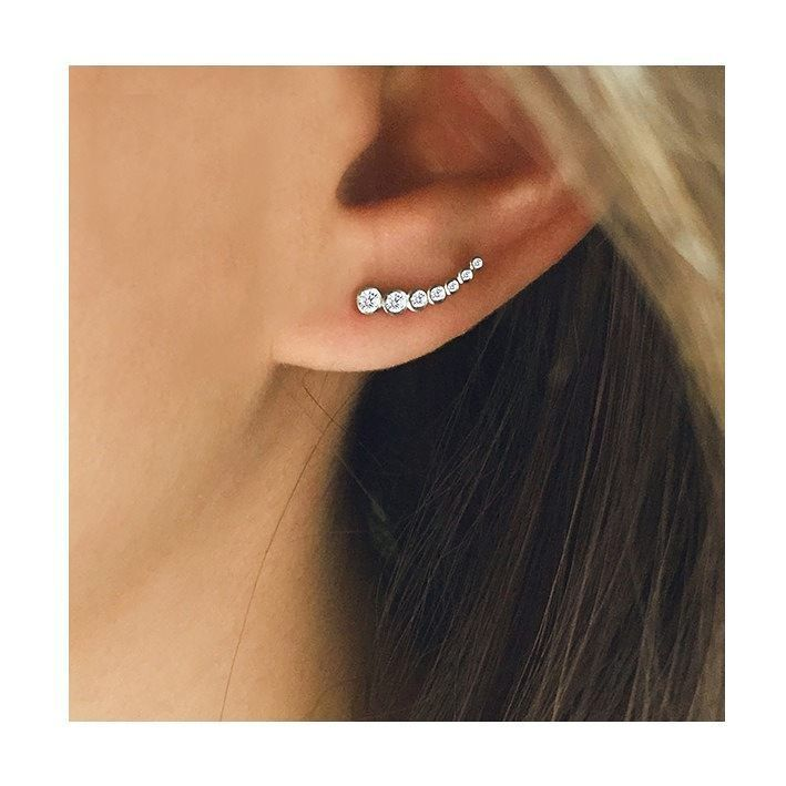 """The """"Bezel Ear Climber"""" is the perfect everyday statement piece! We just love this deign, who else? #MeiraT . . . . . . . . . #earring#earrings#earclimber#diamond#diamonds#diamondearring#jewelry#jewelrylover#jewelrydesign ( # @meiratjewelry )"""