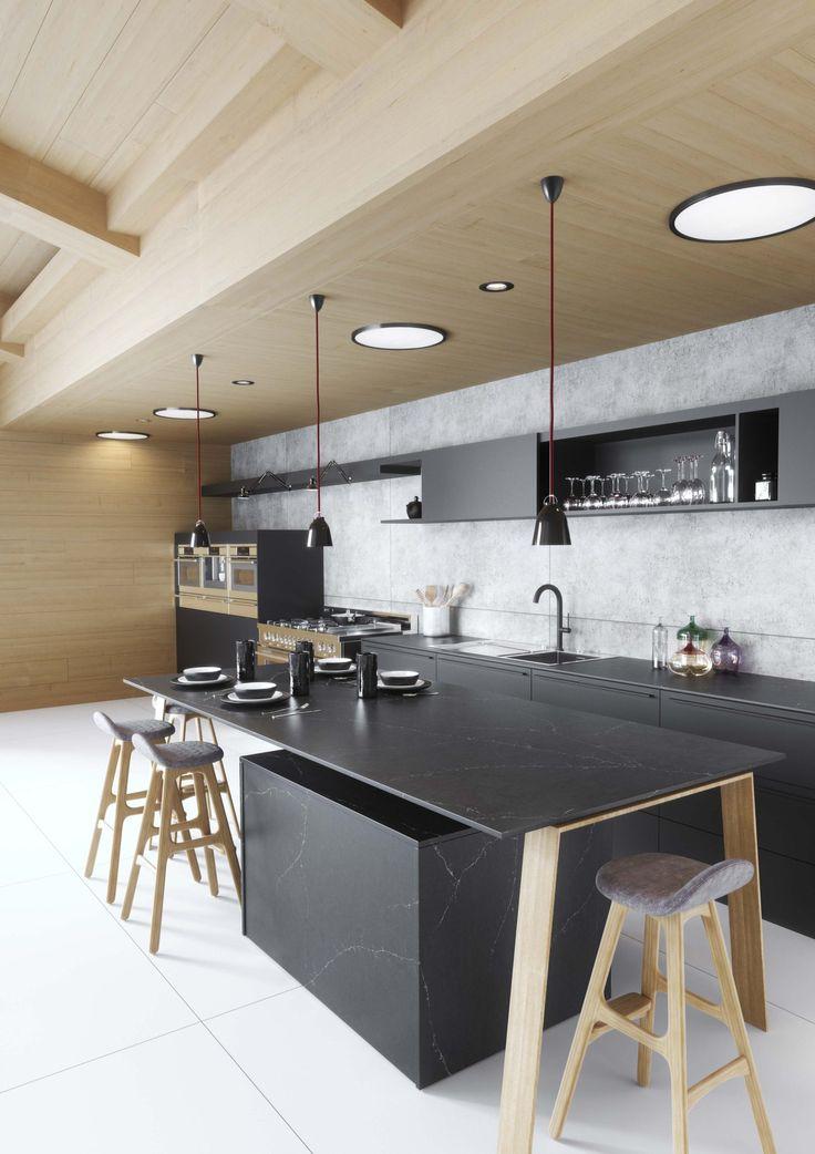 Cuisine avec finition marbre noir Silestone – decorartistspics.site