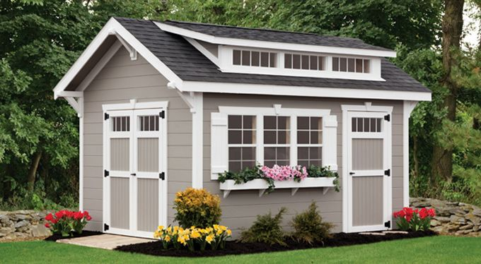 697 best garden sheds greenhouses studios images on for Craftsman style shed plans