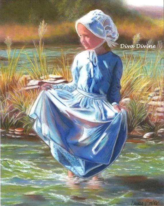 Tableau romantique enfant dans paysage, format env.A4 -  création originale au pastel sec ~ LAURA ~ Nouveauté
