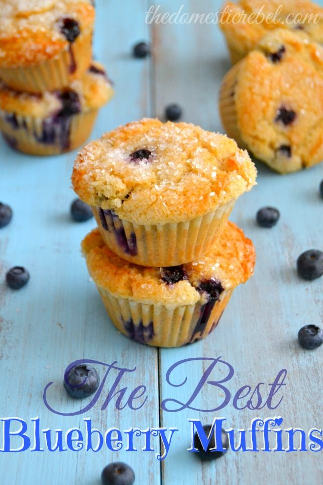 The BEST Blueberry Muffins -- these are completely foolproof, super soft with a crunchy muffin top, and are bursting with blueberries!