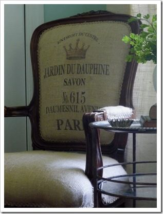 DIY Paris Burlap Chair from fleamarkettrixie.com ~ her instructions on how to print on burlap (or any) fabric: http://www.fleamarkettrixie.com/2010/01/how-to-print-on-burlap.html