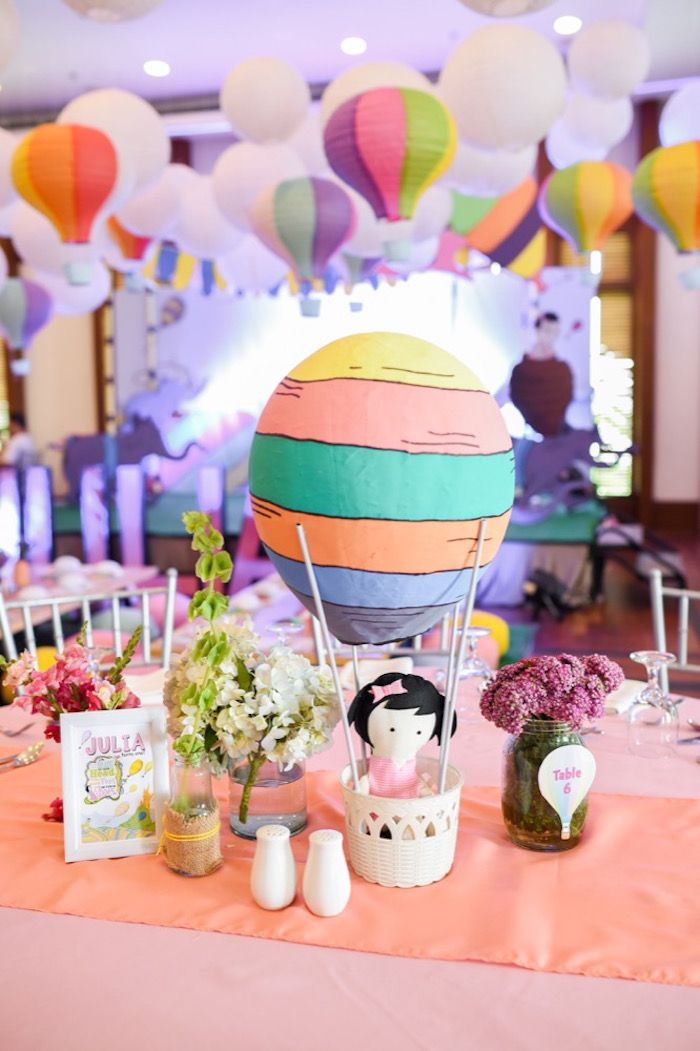 "Table centerpieces from an ""Oh the Places You'll Go"" Dr. Seuss Birthday Party on Kara's Party Ideas 