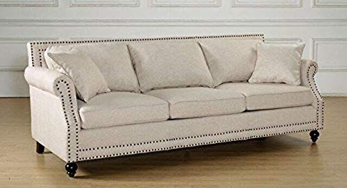New Tov Furniture The Camden Collection Contemporary Linen Upholstered Living Room Sofa Nailhead Trim Beige Online In 2020 With Images Linen Sofa Beige Living Room Furniture Living Room Sofa