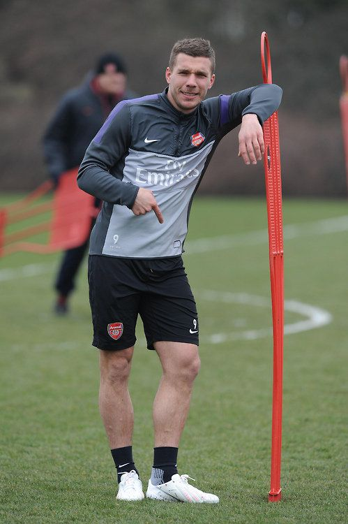 Podolski in Training Ahead of Match vs Manchester United 2013-2014.