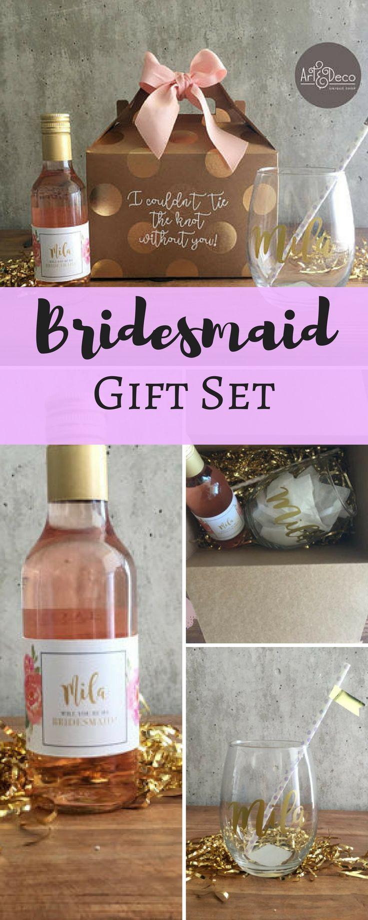 BRIDESMAID GIFT SET / Custom Gifts / Name Glass / Wine kit / Bridesmaid kit / Bridal Shower / Bachelorette / Wedding / Bridesmaid proposal #Affiliate #weddings #gifts