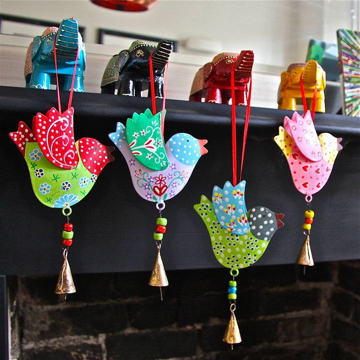 sset of birds and bells decorations by london garden trading | notonthehighstreet.com