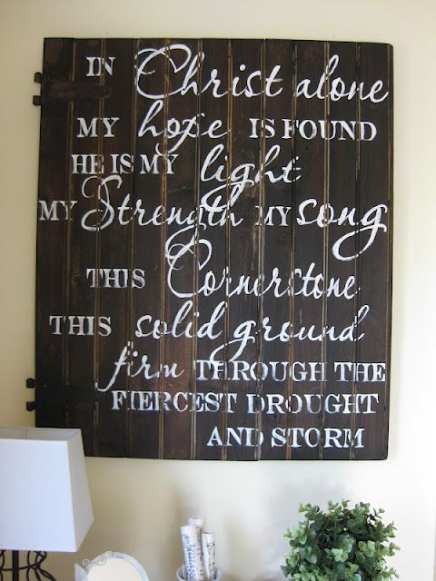 I always liked the idea of having wooden decor in my living room, and I'm loving all these ideas with different song lyrics and Bible verses!! :) BTW, I so love this song.
