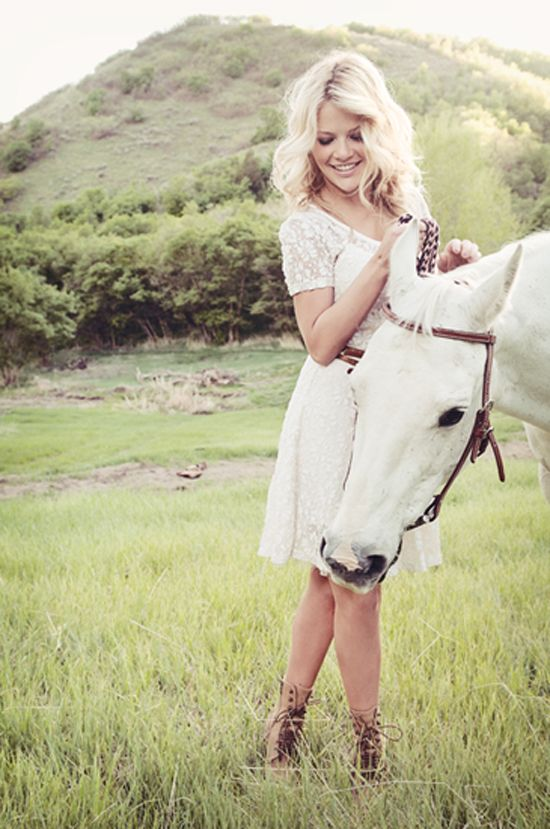 www.frostedproductions.com | Senior Portrait Photography by Frosted Productions. | Witney Carson from So You Think You Can Dance | Equestrian Photography | Photos of of a girl with a white horse in a field. | Utah Photographers, utah photography, senior portraits.