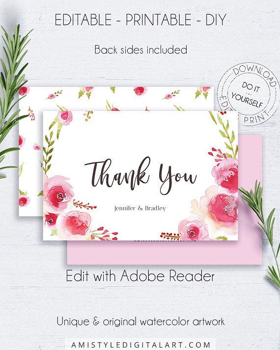 Romantic Rose Wreath Thank You Card - with beautiful and glamorous watercolor roses, for the lovers of the classic and romantic styles.This floral thank you card template is for an instant download EDITABLE PDF so you can download it right away, DIY edit and print it at home or at your local copy shop by Amistyle Digital Art on Etsy