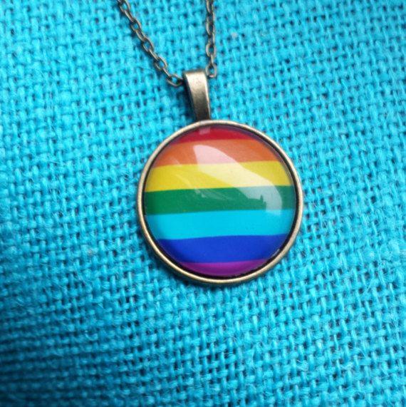 Beautiful Rainbow pride glass necklace by SillySquirrelJewelry