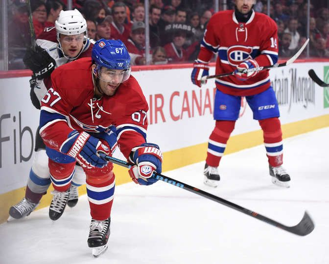 Nov.14 2015 - Avs.6 - Mtl.1 - Max Pacioretty #67 of the Montreal Canadiens clears the puck against theColorado Avalanche in the NHL game at the Bell Centre on November 14, 2015 in Montreal, Quebec, Canada. (Photo by Francois Lacasse/NHLI via Getty Images)