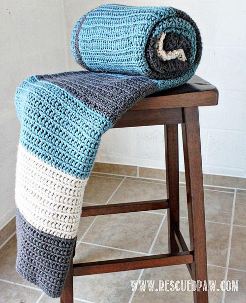Simple Color Blocked Crochet Blanket Pattern From Rescued Paw ༺✿ƬⱤღ  https://www.pinterest.com/teretegui/✿༻
