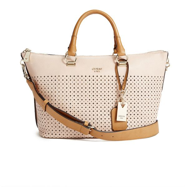 GUESS Juliana Laser-Cut Satchel ($145) ❤ liked on Polyvore featuring bags, handbags, nude, guess purses, pink satchel handbags, satchel style purse, guess satchel and pink handbags