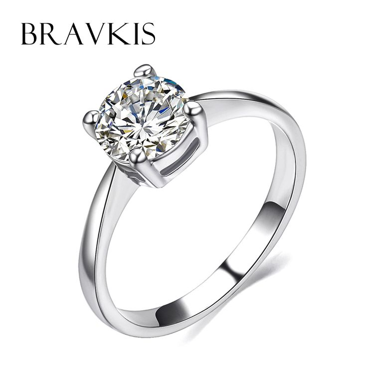 BRAVKIS classic bridal wedding cz stone solitaire rings for women engagement proposal ring bands bague anillos jewelry BJR0136B  – Wedding & Engagement