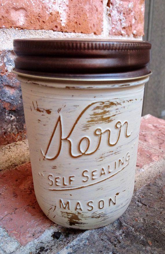 Kerr  Mason Jars Painted and Distressed on Etsy, $12.00